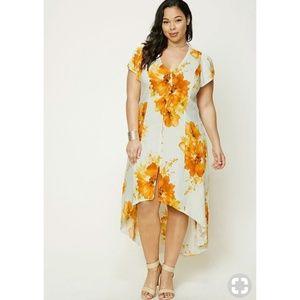 Forever 21 Plus Orange Floral Hi Low Maxi Dress 2X